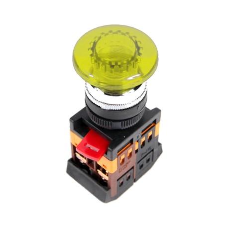 Кнопка IEK AELA-22 «Грибок» желтый d22 мм 230В 1з+1р