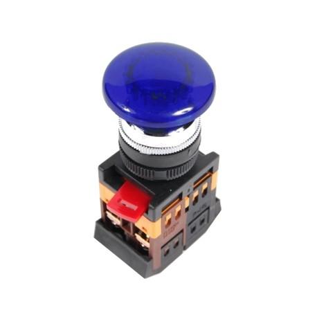 Кнопка IEK AELA-22 «Грибок» синий d22 мм 230В 1з+1р