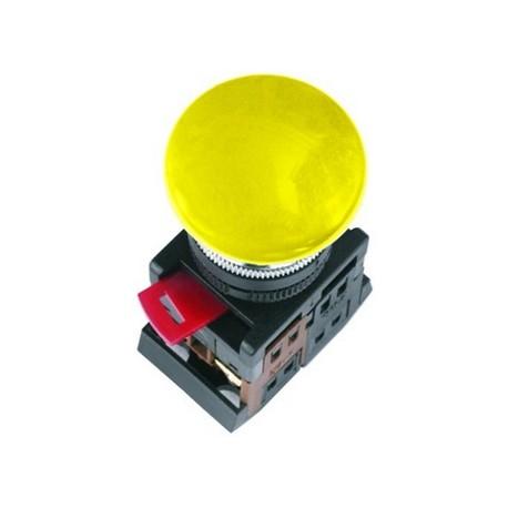 Кнопка IEK AEA-22 «Грибок» желтый d22 мм 1з+1р