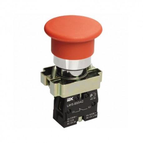 Кнопка IEK LAY5-BC42 «Грибок» красный без подсветки 1р