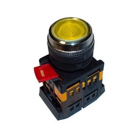 Кнопка IEK ABLFS-22 желтый d22 мм 230В 1з+1р