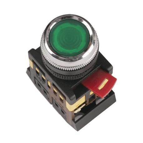 Кнопка IEK ABLFS-22 зеленый d22 мм 230В 1з+1р