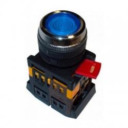 Кнопка IEK ABLFS-22 синий d22 мм 230В 1з+1р