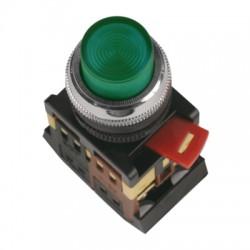 Кнопка IEK ABLFP-22 зеленый d22 мм 230В 1з+1р