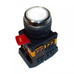 Кнопка IEK ABLF-22 белый d22 мм 230В 1з+1р