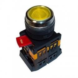Кнопка IEK ABLF-22 желтый d22 мм 230В 1з+1р