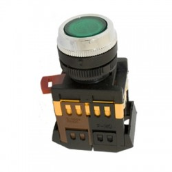 Кнопка IEK ABLF-22 зеленый d22 мм 230В 1з+1р