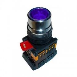 Кнопка IEK ABLF-22 синий d22 мм 230В 1з+1р