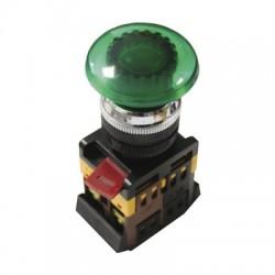 Кнопка IEK AELA-22 «Грибок» зеленый d22 мм 230В 1з+1р