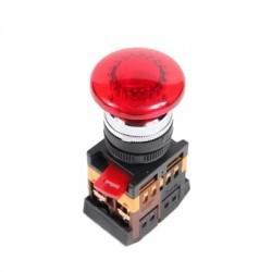 Кнопка IEK AELA-22 «Грибок»  красный d22 мм 230В 1з+1р