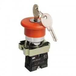 Кнопка IEK LAY5-BS142 «Грибок» с ключом d22 мм 230В 1з+1р