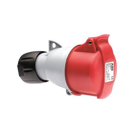 Розетка ABB 332-C6 красный 32A 3P+E IP44