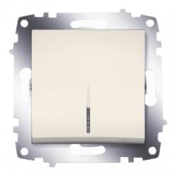 ABB Выключатель одноклавишный с подсветкой крем Cosmo