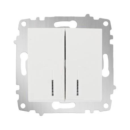 ABB Выключатель двухклавишный с подсветкой белый Cosmo
