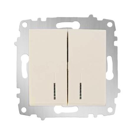 ABB Выключатель двухклавишный с подсветкой крем Cosmo