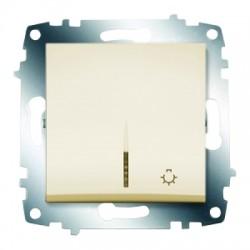 ABB Выключатель кнопочный с подсветкой крем Cosmo