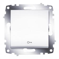 """ABB Выключатель кнопочный с символом """"ключ"""" белый Cosmo"""