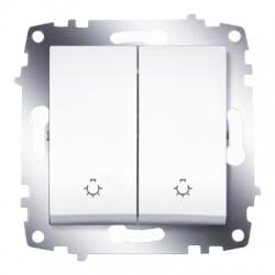 ABB Выключатель кнопочный двухклавишный белый Cosmo