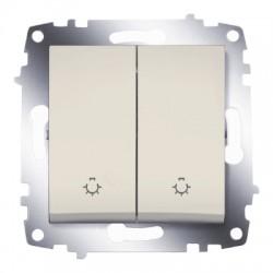 ABB Выключатель кнопочный двухклавишный крем Cosmo