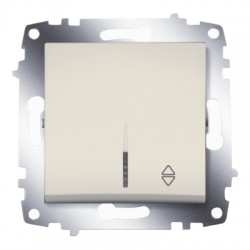 ABB Проходной переключатель одноклавишный с подсветкой (схема 6) крем Cosmo