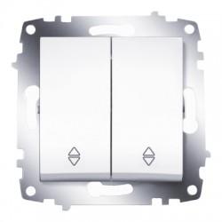 ABB Проходной переключатель двухклавишный (схема 6) белый Cosmo