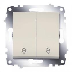 ABB Проходной переключатель двухклавишный (схема 6) крем Cosmo