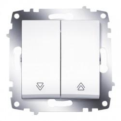 ABB Выключатель кнопочный двухклавишный для управления жалюзи белый Cosmo
