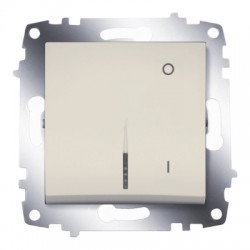 ABB Выключатель двухполюсный с подсветкой крем Cosmo
