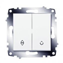 ABB проходной переключатель (схема 6) и выключатель кнопочный белый Cosmo