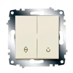 ABB проходной переключатель (схема 6) и выключатель кнопочный крем Cosmo
