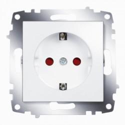 ABB Розетка с заземлением со шторками белый Cosmo