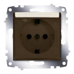 ABB Розетка с заземлением, с защитной крышкой крем Cosmo