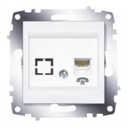 ABB Розетка телефонная TF (RJ11 + гнездо) белый Cosmo