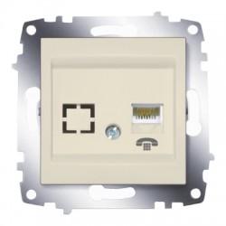 ABB Розетка телефонная TF (RJ11 + гнездо) крем Cosmo