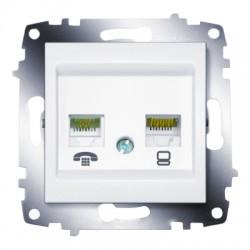 ABB Розетка телефонная и информационная (RJ11 и RJ45 CAT6) белый Cosmo