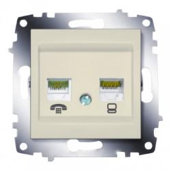 ABB Розетка телефонная и информационная (RJ11 и RJ45 CAT6) крем Cosmo