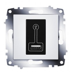 ABB Розетка зарядное устройство USB, 500 мА белый Cosmo