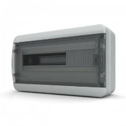 Бокc Tekfor на 18 модулей навесной IP65 прозрачная черная дверца