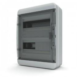 Бокc Tekfor на 24 модуля навесной IP65 прозрачная черная дверца