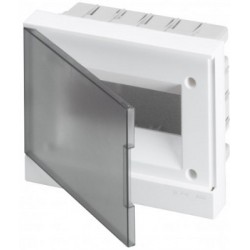 Щит ABB Basic E на 8 модулей, встраиваемый, прозрачная серая дверь