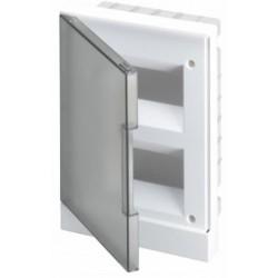 Щит ABB Basic E на 16 модулей, встраиваемый, прозрачная серая дверь