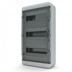 Бокc Tekfor на 36 модулей навесной IP65 прозрачная черная дверца