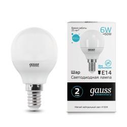 Gauss лампа светодиодная Elementary Globe 240V Е14 6W 4100K