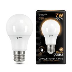 Gauss лампа светодиодная 240V Е27 7W 2700K