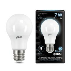 Gauss лампа светодиодная 240V Е27 7W 4100K