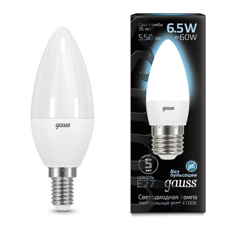 Лампа светодиодная Gauss LED Candle E14 6.5W 4100К