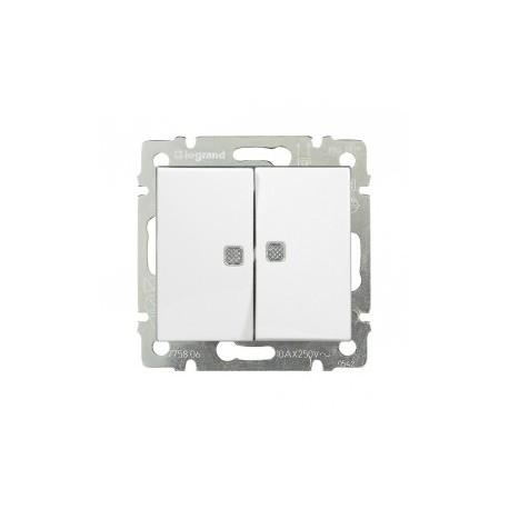Выключатель двухклавишный проходной с подсветкой