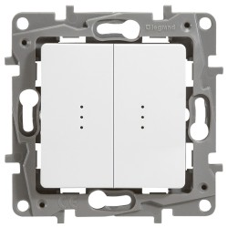Выключатель двухклавишный с подсветкой (винт. зажим)