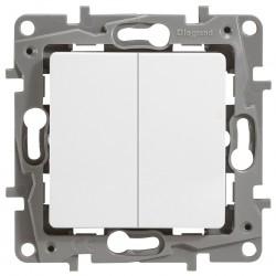 Выключатель двухклавишный проходной (авто. зажим)