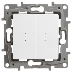Выключатель двухклавишный проходной с подсветкой (авто. зажим)